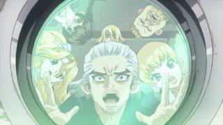 アニメ『Dr.STONE』百夜と宇宙船のクルーたち