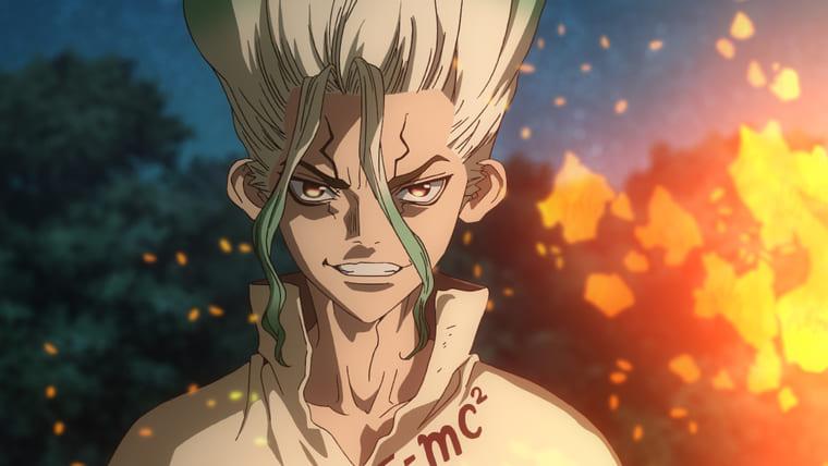 アニメ『Dr.STONE』不敵な笑みの千空