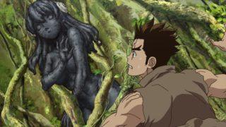 アニメ『Dr.STONE』石化した杠を見つけた大樹