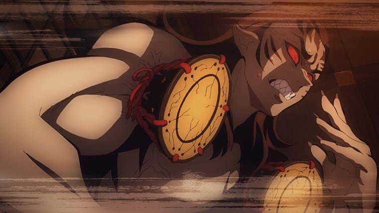 アニメ『鬼滅の刃』鼓の攻撃をしてくる響凱