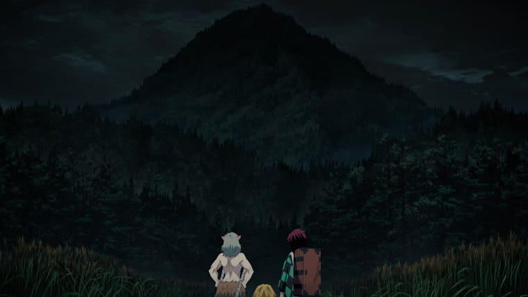 アニメ『鬼滅の刃』蜘蛛山を見上げる炭治朗たち