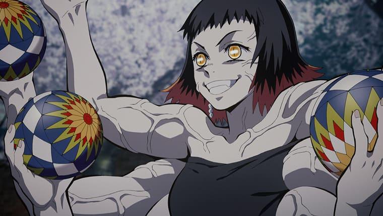 アニメ『鬼滅の刃』たくさんの毬で攻撃してくる手毬鬼