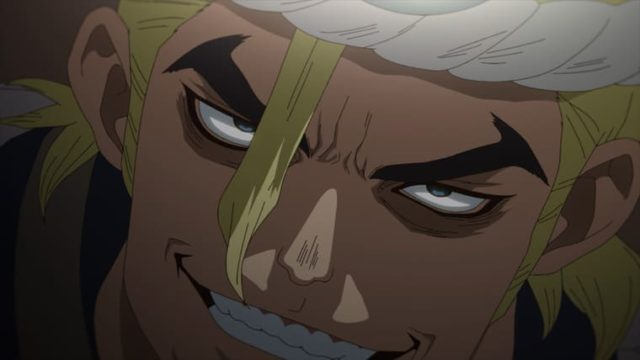 アニメ『Dr.STONE』何かを企む表情のマグマ