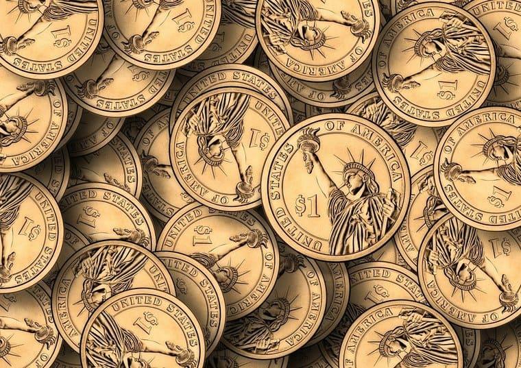 たくさんの1ドルコイン