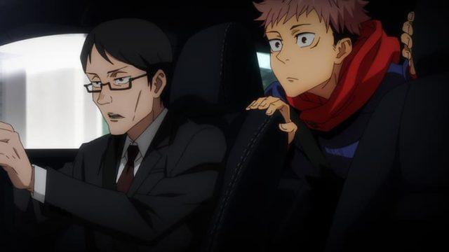 アニメ『呪術廻戦』車内で会話する虎杖と伊地知