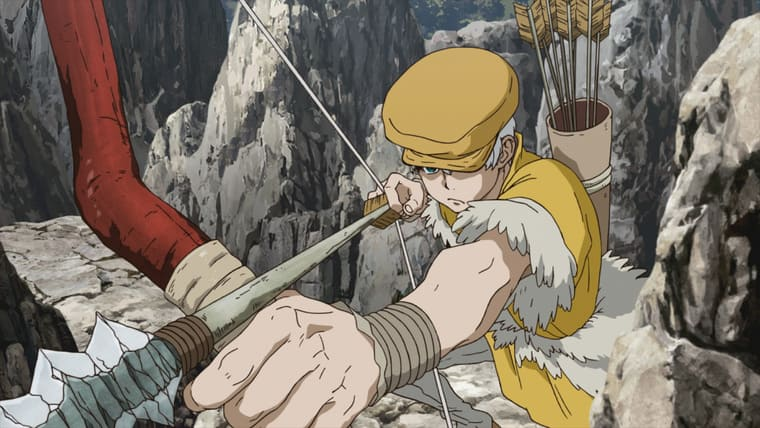 アニメ『Dr.STONE』弓を構える羽京