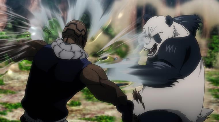 アニメ『呪術廻戦』戦うメカ丸とパンダ