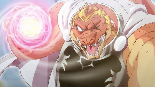 アニメ『ダイの大冒険』獣王激烈掌を放つクロコダイン